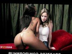 Big-tit babe Emily Addison fucks her HOT ebony GF Leilani Leeane