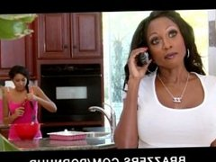 Big-boobed ebony MILF Diamond Jackson fucks her daughters's BF