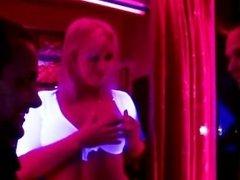 Hot blonde european chick gets on her knees to suck dick