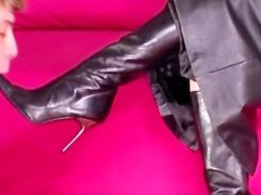 Submissive is worshipping her doms heels