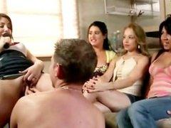 Femdom sluts get off on party fetish full of amateurs