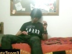 Black hiared and smoking emo getting his hands in his pants By EmosExposed