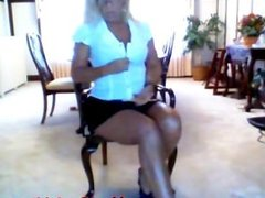 Mature Mom strips and vibes her fat pussy until she cums