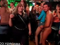 Party babes have fun with strippers