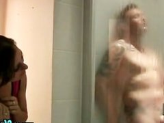 Chick catches guy in the shower and wants him to jerk for her