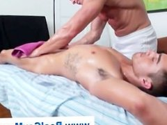 Straight guy cocked sucked by gay masseuse