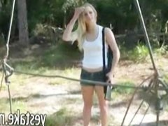 Chick spied on while shooting her gun and gets challenged by guy