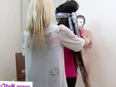 Blindfolded cfnm cock whores