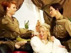 Two lesbian babes cover bride in cum in reality threesome