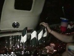 Bisexuals making out in car