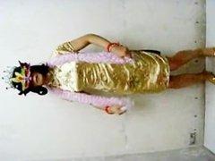 Ladyboy Shirley likes wearing Chinese qipao bound by girls