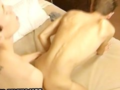 Horny twink jerks off as he gets fucked
