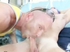 Beefy gay guy gets down to sucking straighty in the back of a van
