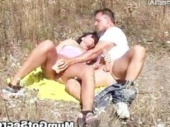 Horny MILF gets fucked hard outdoor free part1