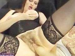 Hairy milf Ashley gets squirt with huge dildo