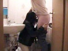 Blowjob on toilet