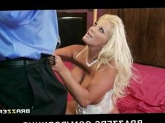 Horny blonde MILF with huge-tits fucks her daughters boyfriend