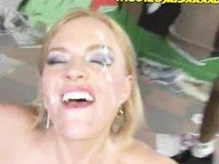 Interracial Cumshooting on Blonde Babe