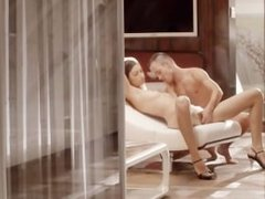 hot sex with charming babe on a chair