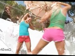 Adria and Megana do exercises and strip outdoors