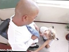 Cute little white teen takes on the principals big fat black cock
