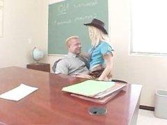 Blond teenage cowgirl sucks and fucks her teachers fat schlong