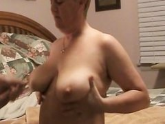 Huge load shot on wife's big tits.