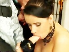Lesbian strapon fetish bitches get wet and messy