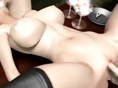 Animated brunette doing deeptroath in group