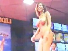 Arabian Belly Dancer in Blue Dress strips for Audience