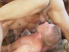 Blue eyed boy riding big dick