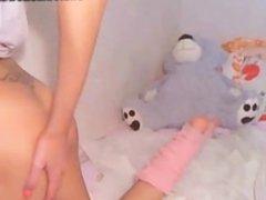 Teen taking her panties off and masturbating
