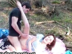 Anorexic redhead gets outdoor facial part2