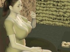 Wild animated babes sharing a hard dick