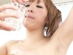 Sensual Asian With Gorgeous Body Oils Herself Up