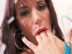 Italian babe in fishnets Gia Dimarco teaches herself to squirt