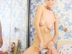 Blond model strip dancing and masturbating
