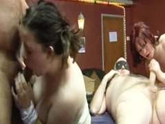 UK amateur gangbang party in a swingers club