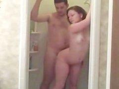 Brunette Fucks Her BF In The Shower