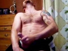 Hot Hairy chest dude busts nut