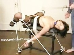 Whore in stockings is tied up