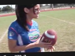 Exciting football player getting filmed part6