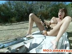 Ashlynn Leigh and Gia DiMarco Fucked Outdoors by Killer Machines