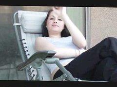 Smoking amateur teen girl outdoors