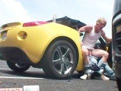 Blond dude gets anus boned in car part3