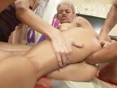 Blonde slut gets her tight pussy fisted part1