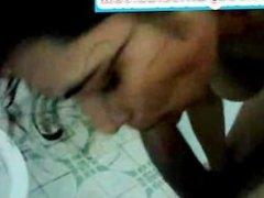 Sexy Desi Indian Amateur Girl Sucking Boyfriend's Dick in Bathroom
