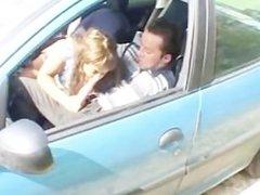 Arabic chick learns driving a car