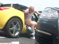 Blond dude gets anus pounded in car part5