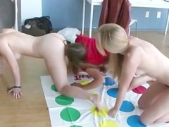 Skanky lesbians get naked after twister and get their pussies eaten